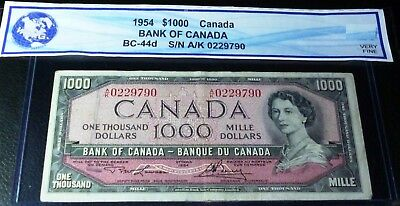 $1000 Bank  of Canada 1954  VERY  FINE