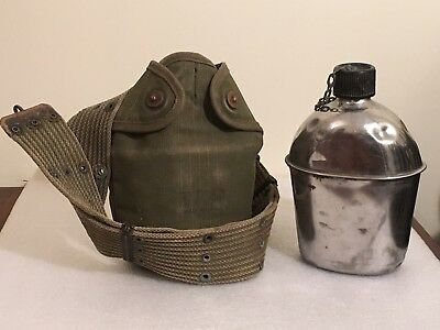 WW2 US Army USMC Marked Lawrence Prod. Co. 1945 Aluminum Canteen With Case WWII