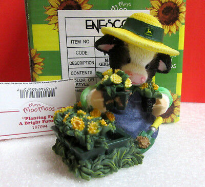 Mary's Moo Moos PLANTING FOR A BRIGHT FUTURE Cow John Deere Enesco Figurine