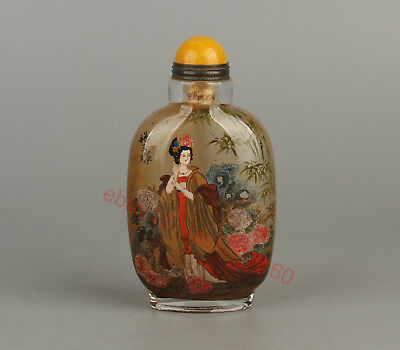 Chinese Exquisite Handmade beauty flower pattern Glass snuff bottle