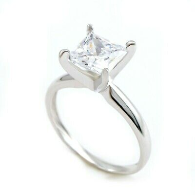 2 Ct Princess Cut Diamond Solitaire Engagement Ring Real Solid 14K White Gold