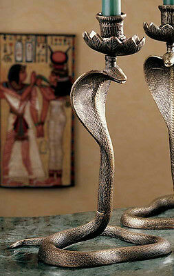 "11"" Egyptian Sacred Serpent Snake Cobra Uraeus Candlestick - made of cast Iron"