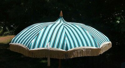 ~ Vintage 1960's SHELTA Striped & Fringed  CANVAS BEACH/POOL/GARDEN UMBRELLA~