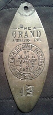 Old  brass keytag from, The Grand Hotel, in Anderson, Indiana.