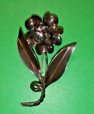 Estate Hand Made Sterling Silver Flower Brooch