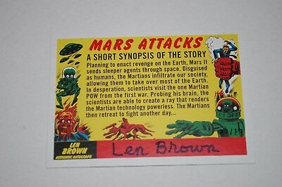 Checklist 55-2017 Topps Mars Attacks The Revenge Len Brown Auto-02/10