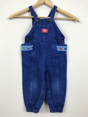 Vintage Oshkosh B'gosh Baby Coveralls Airplanes Made in USA Denim 80s 24 mo 2T