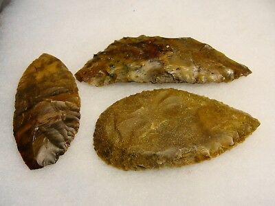 SET OF 3 KNIFE BLADEs found in NEVADA  INDIAN ARTIFACTS ARROWHEAD
