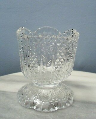 "Vintage Avon Glass Candy dish or Candle Holder 3 7/8"" x 3 1/2"" Flower diamond"