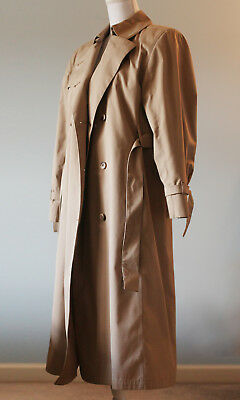 on feet images of bright n colour hot-selling genuine LONDON FOG VINTAGE Beige Long Trench Coat Maincoats Women Size 8 M Petite