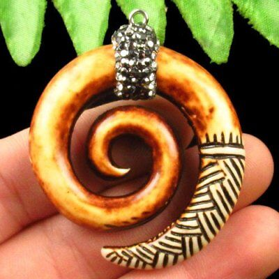 Carved Chinese Old Jade Hand-made Pave Crystal Snail Pendant Bead A17194