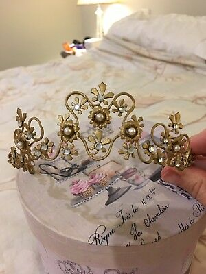 Tiara, gold encrusted with crystals and Pearls.