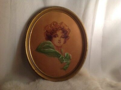 Antique circa-1900 Portrait Painting Leather NR beautiful young lady