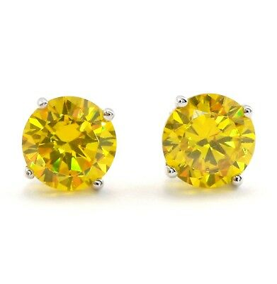 3 Ct Round Cut Yellow Lab Diamond Earrings Solid 14k White Gold Screw Back Studs
