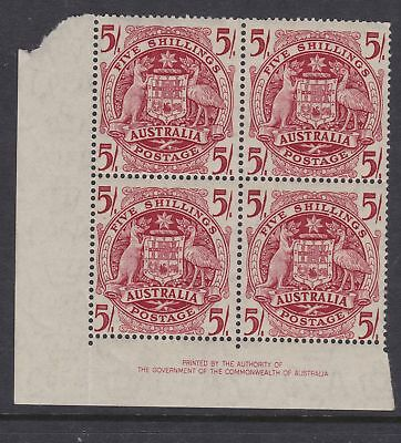 "1948 Arms 5/- Imprint Block Of ""4"" Superb Mint Unhinged Fresh (Gg38 )"