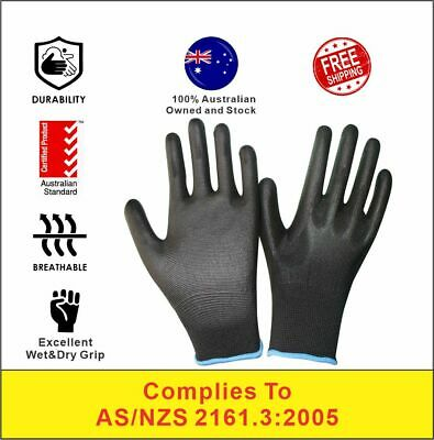 12/24 Pairs PU Coated Work Safety Gloves General Purpose Garden Hand Protection