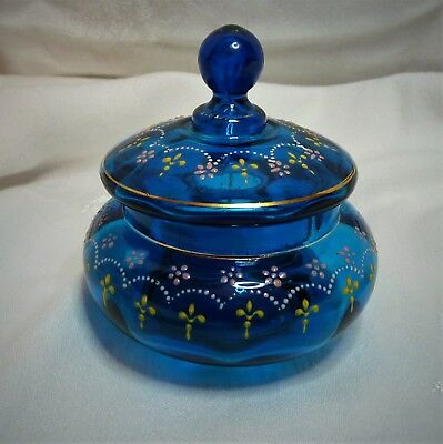 Vtg MOSER Bohemian Glass Czech Cobalt Blue Enamel Lidded Box Jar Trinket Candy