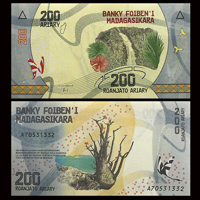 Madagascar 200 Ariary 2017 NEW Design UNC Paper Money Africa Banknote Real New