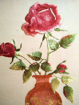 Exquisite Antique Roses Society Silk Hand Embroidered Picture Panel