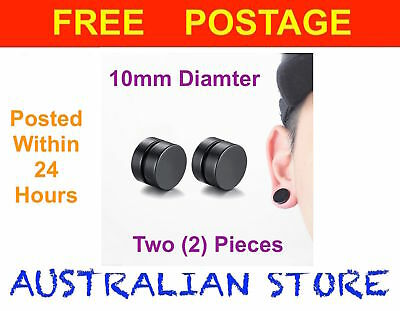 2x Magnetic Earrings Ear Stud Mens Women's NO PIERCING Jewellery BLACK 10mm Size