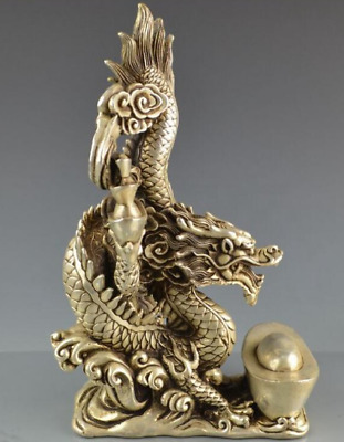 Chinese archaize collection cupronickel Fortune Dragon crafts Statue