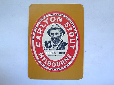 CARLTON BREWERY CARLTON STOUT MELBOURNE VICTORIA PLAYING CARD c1980s UNUSED