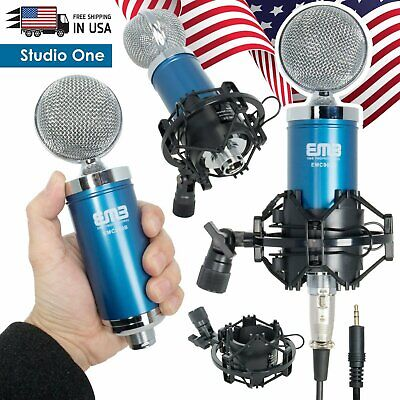 EMB Pro 900 Blue Studio Condenser Microphone + Shock Mount + Anti-wind Foam Cap