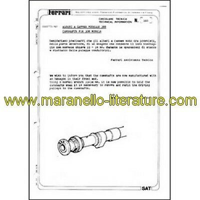 1980 Ferrari technical information n°0360 (Camshaft for 308 models) (reprint)