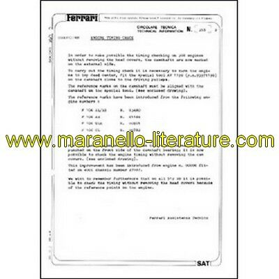 1980 Ferrari technical information n°0355 (Engine timing check) (reprint)
