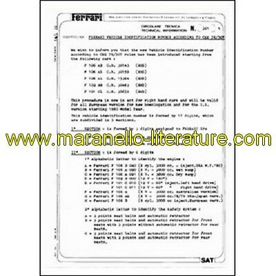 1980 Ferrari technical information n°0361 (Ferrari vehicle identification number