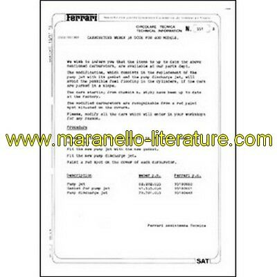 1979 Ferrari technical information n°0351 400 models (Carburetors Weber 38 DCOE)
