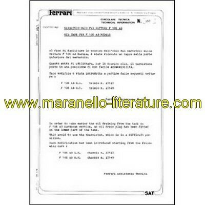 1980 Ferrari technical information n°0357 F 106 AB models (Oil tank) (reprint)