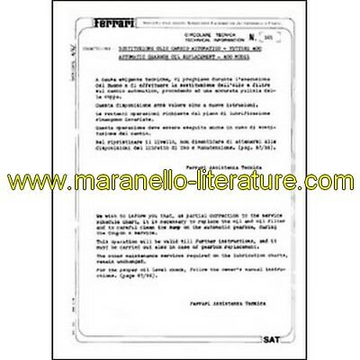 1980 Ferrari technical information n°0365 (Automatic gearbox oil replacement - 4