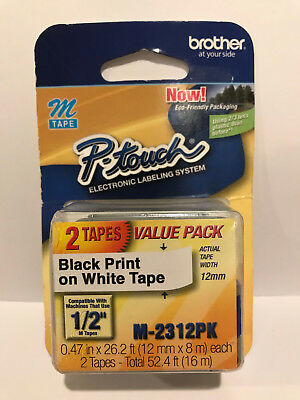"2 Pk Brother P-Touch M Series Tape Cartridges for Labelers, 1/2"" x 26 1/5' -M231"
