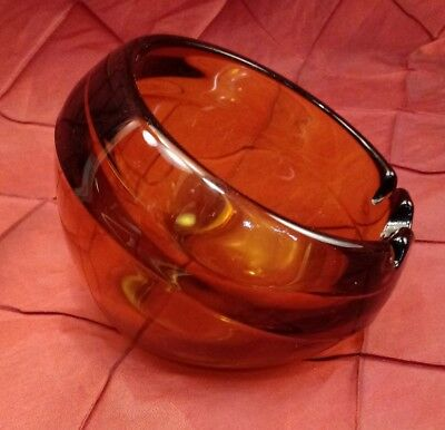 """Vtg Mid Century Mod Swanky Space Age Orb Ashtray Cigar Amber Glass 6"""""""