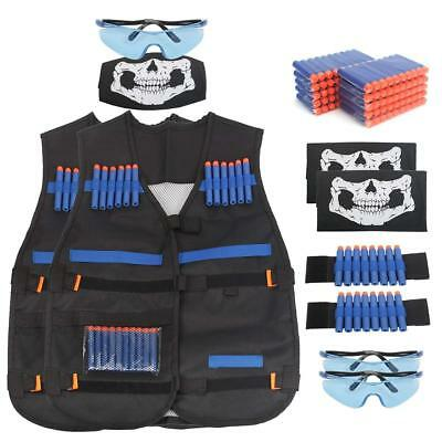 2 Pack NERF TACTICAL VEST Kit with Refill Darts, Glasses, Skull Mask, Wristband