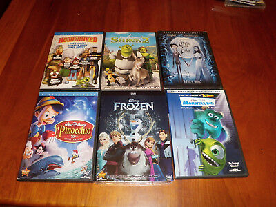 6 Childrens Movies (3 New) Incl Frozen, Pinocchio, Monster's Inc, Shrek 2 + More