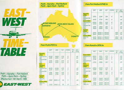 East-West Airlines Western Australia Timetable  27 October 1985