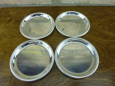 4  Remy Martin Advertising Glass Coasters silver plated