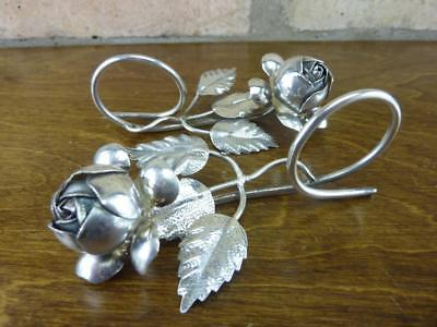2 lovely Vintage Silver metal Rose Napkins Rings