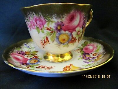 Stunning ROYAL CHELSEA Tea Cup and Saucer Duo Gold Trim