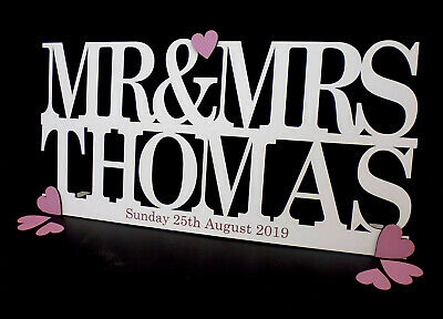 Personalised Wooden MR & MRS Sign Freestanding Wedding Sign Engraved with date