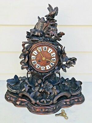 1850's Black Forest Carved Wood Mantle Clock Cartouche Dial w/8D French Moment