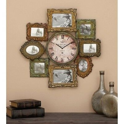 Metal Photo Frame Wall Sculpture Art W Clock Roman Numeral 25 Inch Round Picture