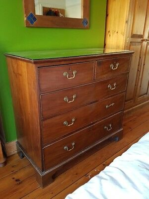 Large Antique Dark Wood Chest of Drawers, beautiful brass handles, 2 over 3