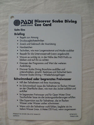 PADI Discover Scuba Diving Cue Card Deutsch