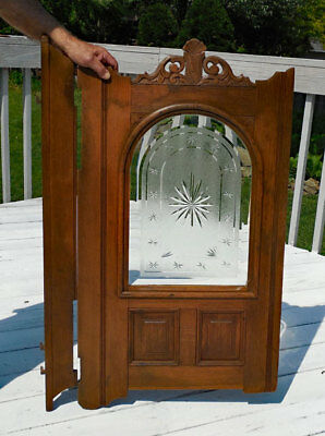 antique OAK SINGLE SWINGING SALOON (CAFE) BAR  DOOR orig. GLASS carved.