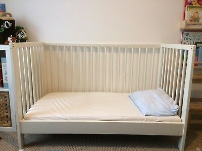 Ikea Small White Baby Toddler Cot/Cotbed/Daybed 120x60cms