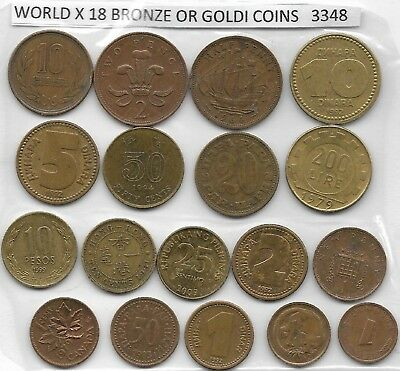 WORLD x 18 Mixed  Coins Goldi or Brown Colour