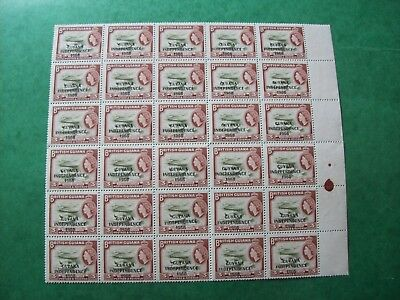 GUYANA  'Guyana Ind 1966' overprint on QEII BG 3c  block of 30 fresh U/M